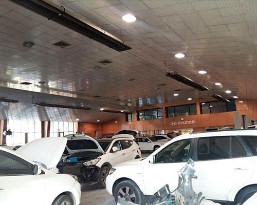 گرم-کننده-تابشی-گرماتاب-برای-گرمایش-تعمیرگاه-خودرو
